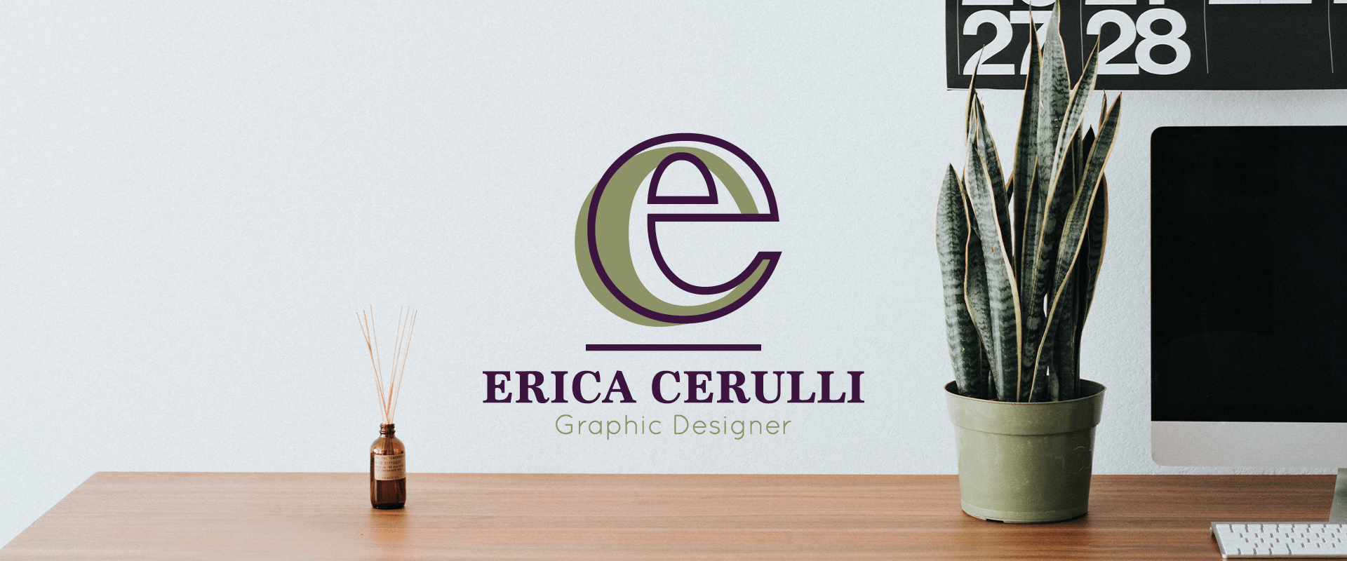 Erica Cerulli logo on an image of a desk and computer